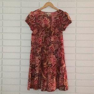 LOFT Pink & Orange Floral Empire Waist Dress